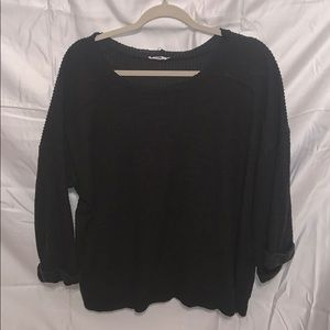 Charcoal gray top w/ 3/4 wide bell sleeves